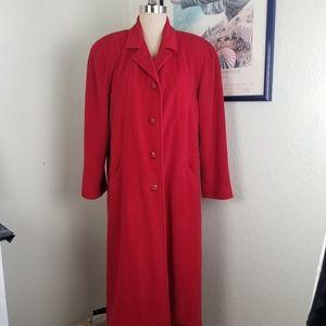 Juli De Roma 100% Wool Red Long Coat Large